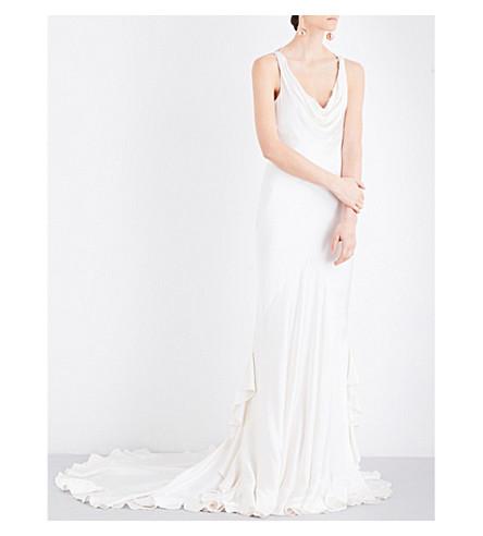 GHOST Willow satin dress (Chalk+white