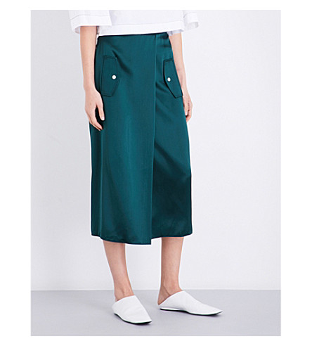 DION LEE Slit-front silk-satin skirt (Forest