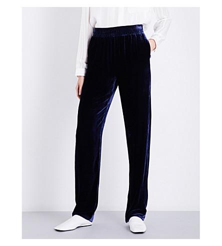 DION LEE Wide-leg velvet trousers (Ink