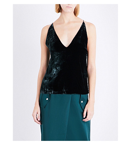 DION LEE V-neck velvet camisole (Deep+green