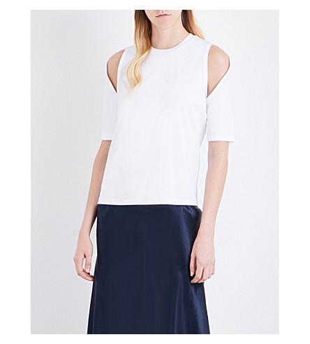 DION LEE Cold-shoulder cotton T-shirt (Ivory