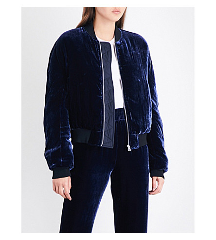 DION LEE Padded velvet and silk-blend bomber jacket (Ink