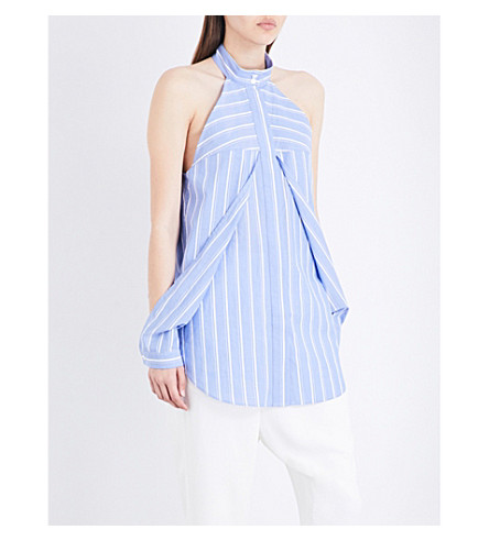 DION LEE Striped released sleeved cotton shirt (Blue+stripe