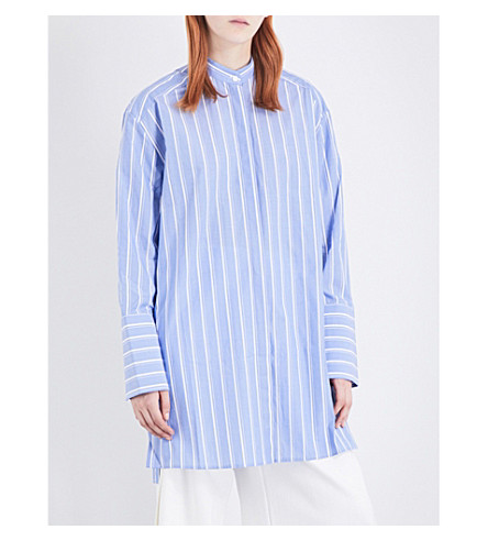DION LEE Double-cuff striped cotton tunic shirt (Blue+stripe