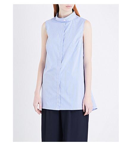 DION LEE Gathered-detail stretch-cotton shirt (Blue+stripe