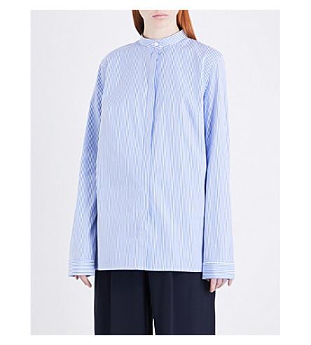 DION LEE Cutout-detail striped stretch-cotton shirt (Blue+stripe