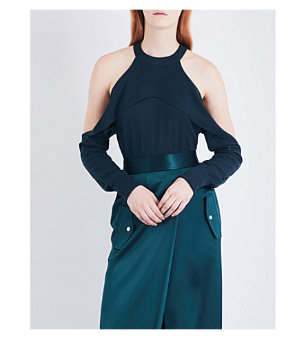 DION LEE Cold-shoulder stretch-knit top (Forest