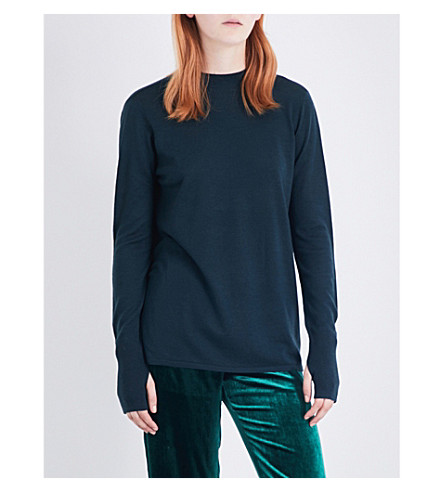 DION LEE Open-back stretch-knit top (Forest