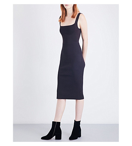 DION LEE Square-neck ribbed stretch-knit dress (Tobacco
