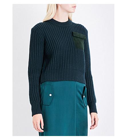 DION LEE Patchwork Pocket wool and cashmere-blend jumper (Deep+green