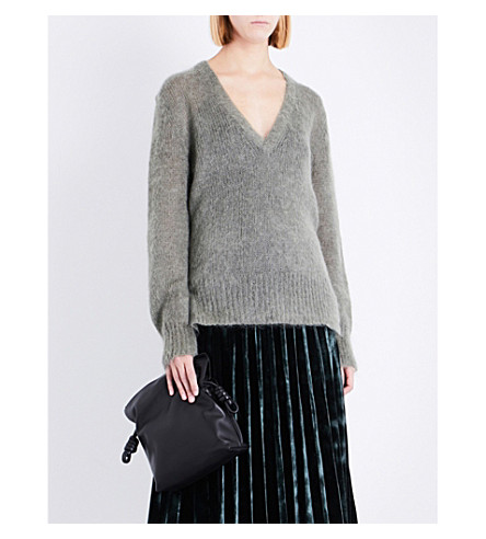 DION LEE V-neck mohair-blend jumper (Army