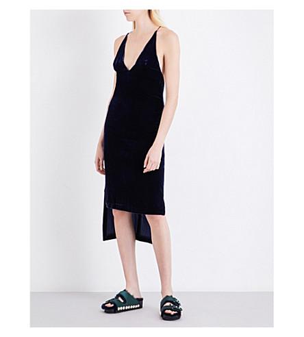 DION LEE Spaghetti-strap velvet dress (Ink