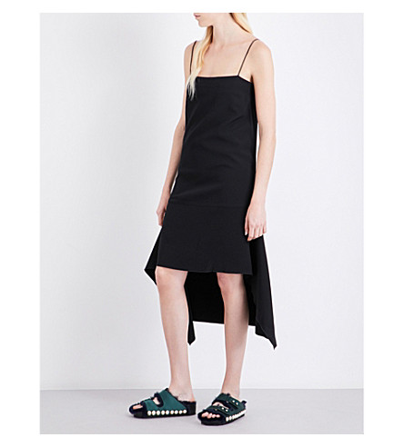 DION LEE Spaghetti-strap crepe dress (Black