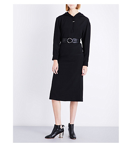 DION LEE Hooded stretch-silk dress (Black