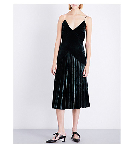 DION LEE Pleated velvet midi dress (Deep+green