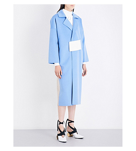 REJINA PYO Kate oversized wool-blend coat (Sky+blue+oat+wool