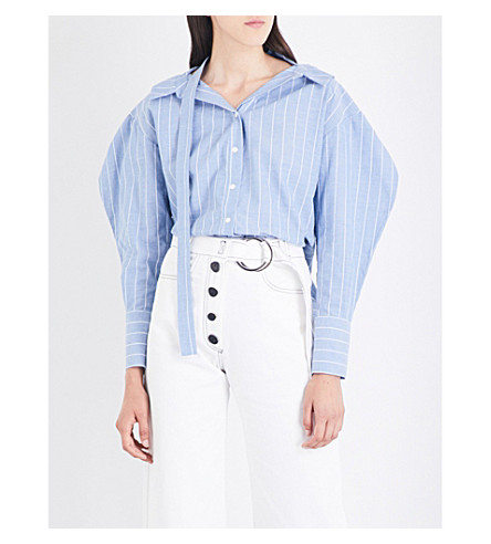 REJINA PYO Rosa striped cotton and linen-blend shirt (Blue+stripe+cotton