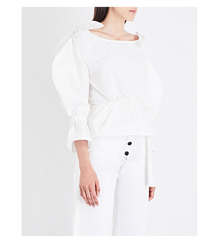 REJINA PYO Michelle cotton-poplin blouse (White+cotton
