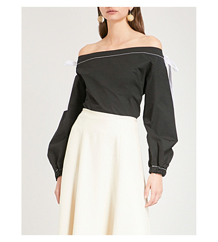 REJINA PYO Heidi off-the-shoulder cotton-blend top (Cotton+poplin+black
