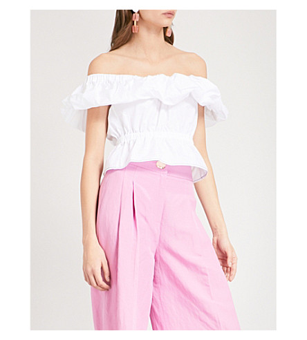 REJINA PYO Mina off-the-shoulder cotton-poplin top (Cotton+poplin+off-white