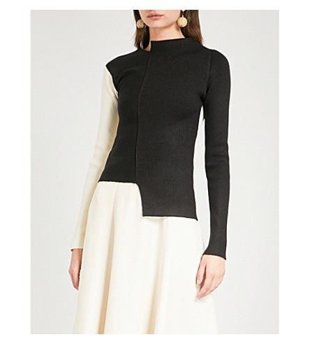 REJINA 表凯利非对称颈针织毛衣 (针织 + 肋 + 白 + 黑