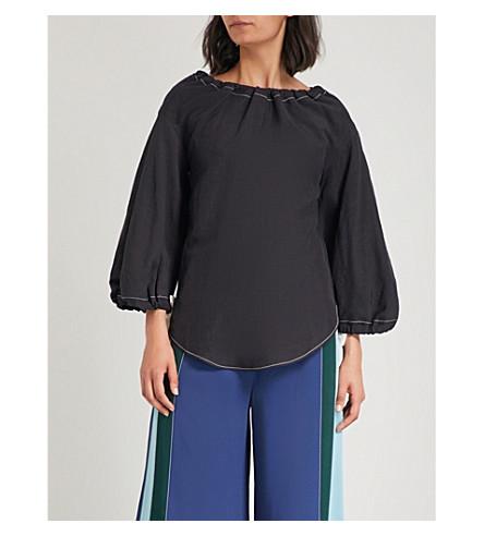 REJINA PYO Dana linen-blend top (Linen+black+white