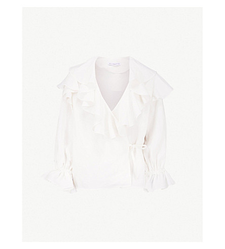 REJINA PYO Camila ruffled linen-blend wrap top (Linen+white