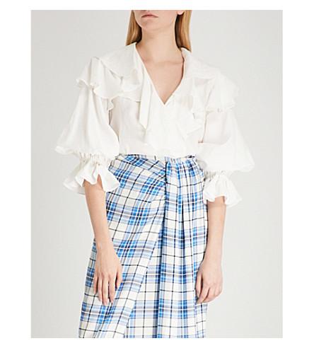 REJINA PYO Camila ruffled linen-blend wrap top (Linen+white