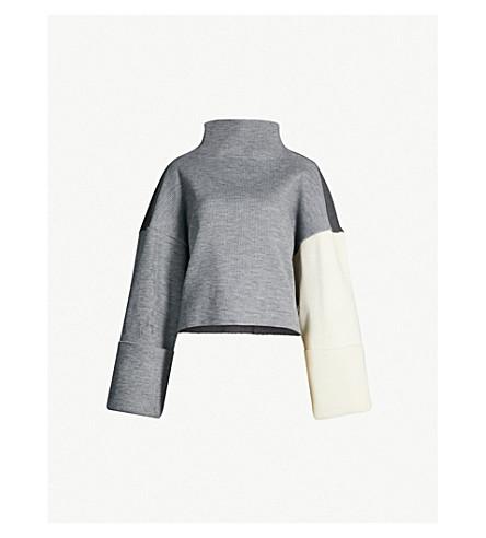 REJINA PYO 公园对比板针织毛衣 (肋灰
