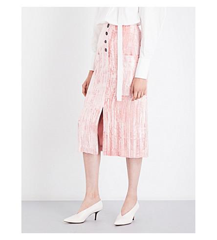 REJINA PYO Carmen crushed-velvet midi skirt (Pink+velvet