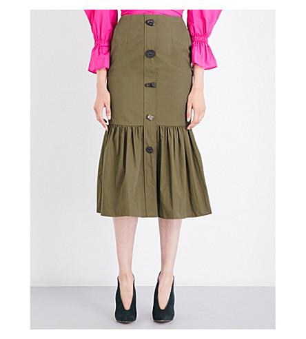 REJINA PYO Paula ruffled cotton-blend midi skirt (Khaki cotton