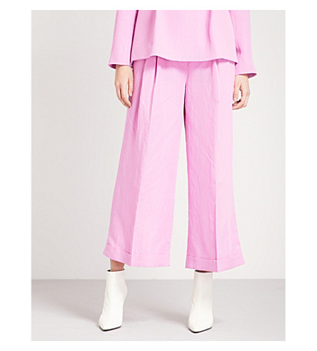 REJINA PYO Dylan wide cropped high-rise woven trousers (Linen+taffy+pink