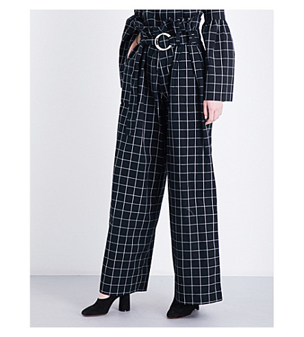 REJINA PYO Tilly wide-leg cotton trousers (Blkwht+cotton+check