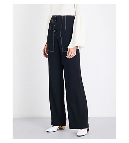 REJINA PYO Lottie wide-leg crepe trousers (Black+crepe
