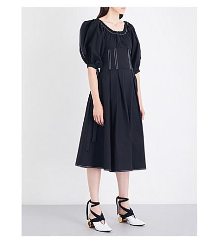 REJINA PYO Greta off-the-shoulder cotton-poplin midi dress (Black+cotton
