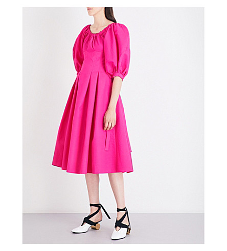 REJINA PYO Greta off-the-shoulder cotton-crepe midi dress (Magenta+light+tech