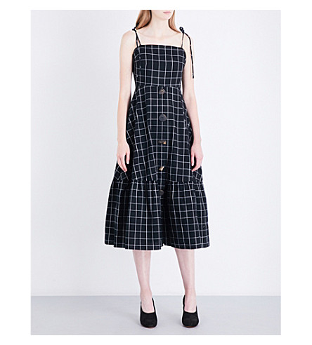 REJINA PYO Maria checked cotton dress (Blkwht+cotton+check