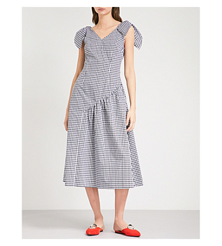 REJINA PYO Lily fit-and-flare cotton-poplin dress (Black+white+gingham