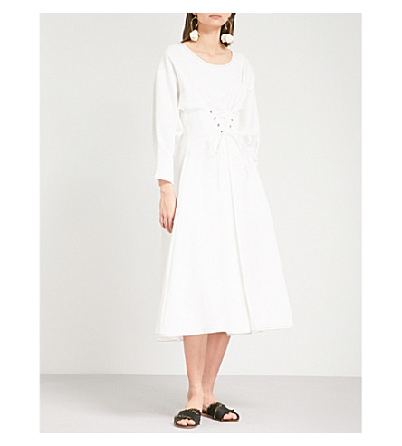 REJINA PYO Irene fit-and-flare linen and cotton-blend dress (Linen+off-white