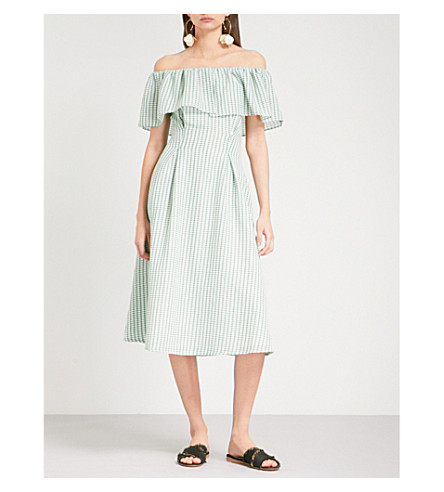 REJINA PYO Olivia off-the-shoulder weaved dress (Weaeve+gingh+greenwhite