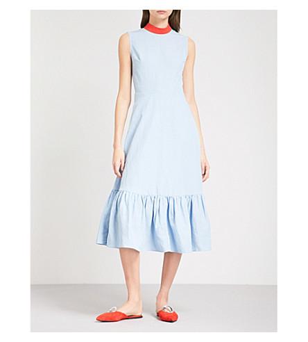 REJINA PYO Bridget high-neck woven midi dress (Linen+celeste+blue
