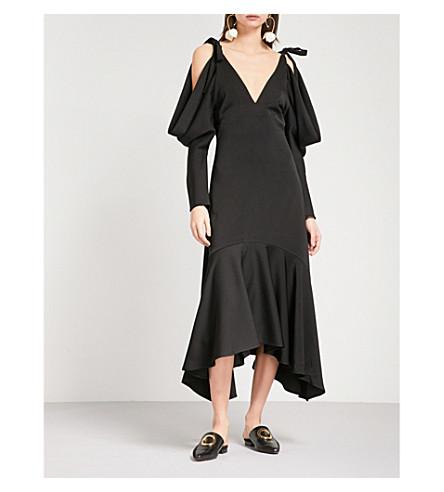 REJINA PYO Camille V-neck crepe midi dress (Crepe+satin+black