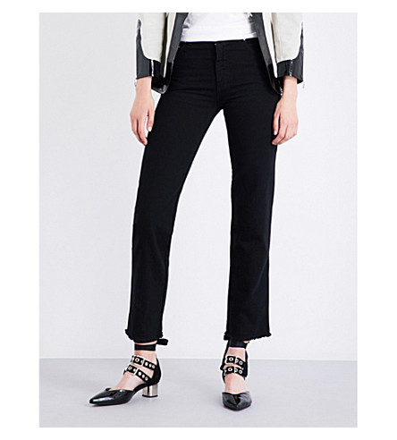 ALEXACHUNG Straight cropped high-rise jeans (Blk+overdyed+wash
