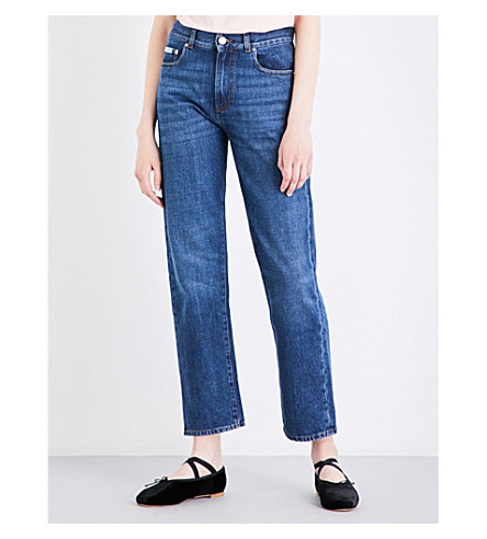 ALEXACHUNG Boyfriend-fit cropped high-rise jeans (Mid+vintage+wash