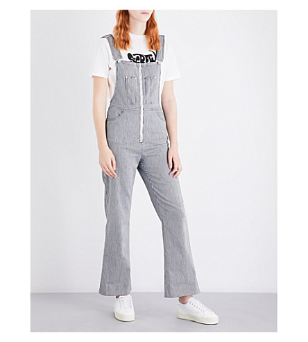 ALEXACHUNG Striped zip-front stretch-cotton dungarees (Navy+ecru