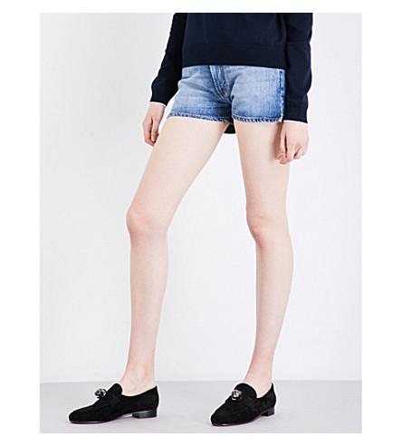 ALEXACHUNG Mid-rise denim shorts (Light+vintage+wash