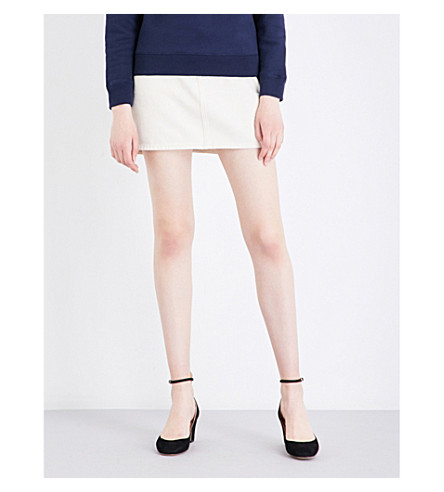 ALEXACHUNG High-rise denim mini skirt (Ecru