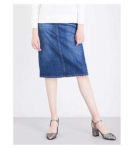 ALEXACHUNG Back-split denim skirt (Mid+vintage+wash