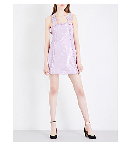 ALEXACHUNG Frill-trimmed faux-patent dress (Lilac