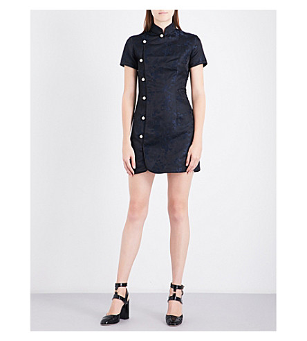 ALEXACHUNG Mandarin collar brocade mini dress (Black+navy